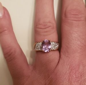 Jewelry - Nwt 14k Gold Natural Amethyst & Diamond Ring 5